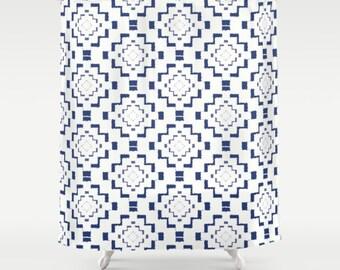"""Shower Curtain - Rough Geometric Aztec Print - Navy Blue White - 71""""x74"""" - Bath Curtain Bathroom Decor Accessories"""