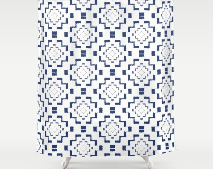 "Shower Curtain - Rough Geometric Aztec Print - Navy Blue White - 71""x74"" - Bath Curtain Bathroom Decor Accessories"