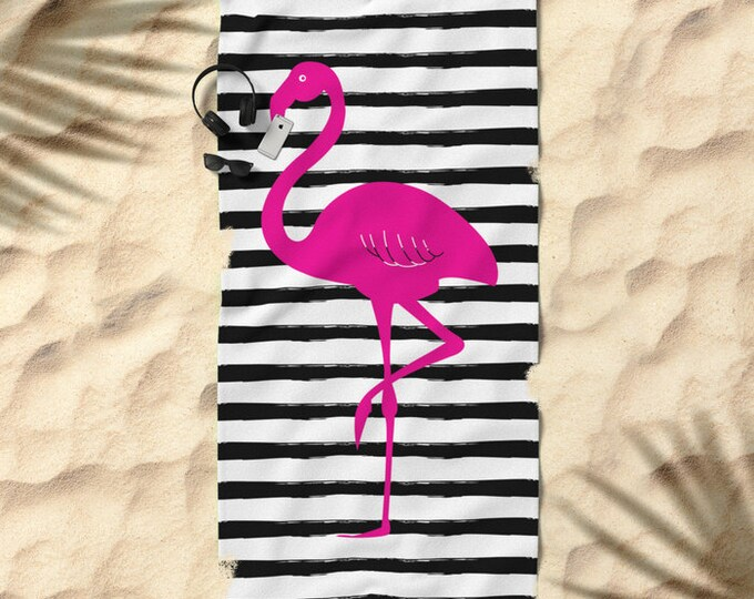 Oversized Beach Towel - Flamingo and Stripes - Hot Pink Black and White - Bundle with a Tote and Pouch!