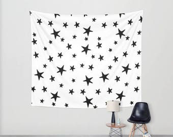 Wall Tapestry - Star Print - Black and White - Small Medium or Large - Bedroom Decor Accessories Dorm Nursery Playroom