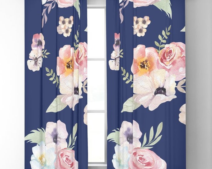 "Window Curtains - Watercolor Floral I - Navy Blue Pink - 50"" x 84"" or 96"" Length - Blackout or Sheer - Rod Pocket - Bedroom Nursery Playroom"
