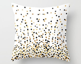 Throw Pillow - Floating Dots - Gold Black and White - Square Cover with Insert - 16x16 18x18 20x20 24x24