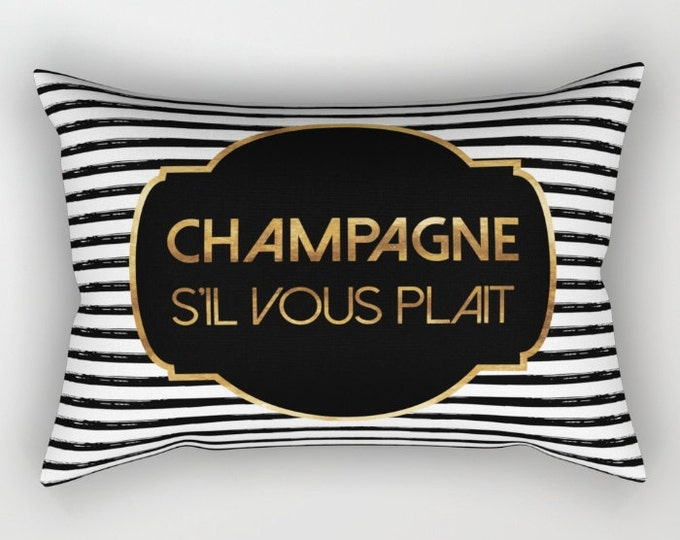Lumbar Throw Pillow - Champagne S'il Vous Plait - Gold Black and White - Rectangle Cover and Insert - 17x12 20x14 25.5x18 28x20