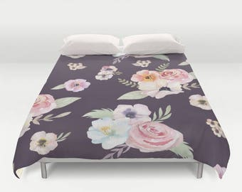 Duvet Cover or Comforter - Watercolor Floral I - Eggplant Purple Pink - Twin XL Full Queen or King - Bedroom Bed
