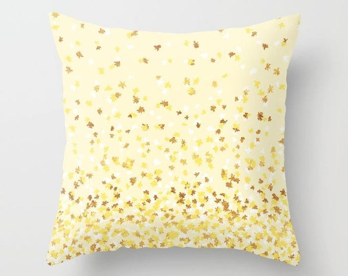 Throw Pillow - Floating Confetti Dots - Yellow White Gold - Square Cover with Insert - 16x16 18x18 20x20 24x24