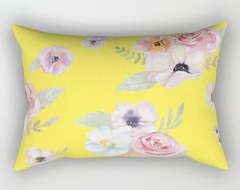 Lumbar Throw Pillow - Watercolor Floral I - Bright Yellow Pink - Rectangle Cover and Insert - 17x12 20x14 25.5x18 28x20