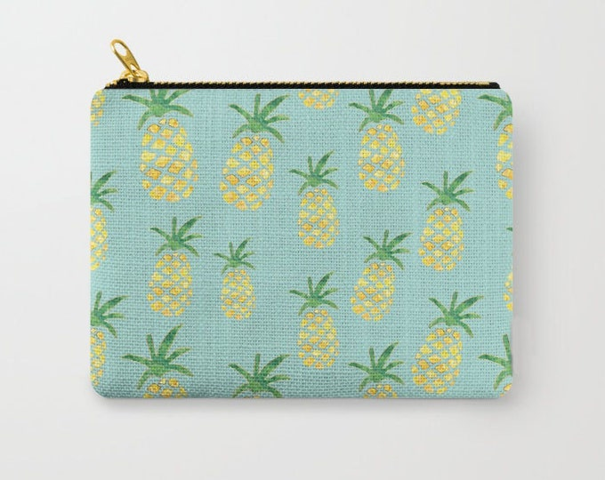 Zipper Pouch - Pineapple Print on Mint - Yellow Green and Gold - 3 Sizes Available