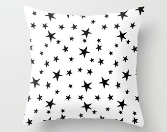 Throw Pillow - Star Print - Black and White - Square Cover with Insert - 16x16 18x18 20x20 24x24
