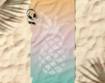 Oversized Beach Towel - Tropical Pastel Ombre Pineapple - White Orange Pink Aqua - OPTIONAL: Bundle it with a Matching Tote and Pouch!