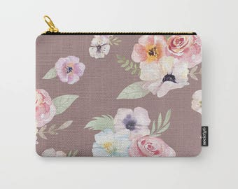 Zipper Pouch - Watercolor Floral I - Cocoa Brown Pink - 3 Sizes Available - Carry All Clutch Bag Cosmetic Case Makeup