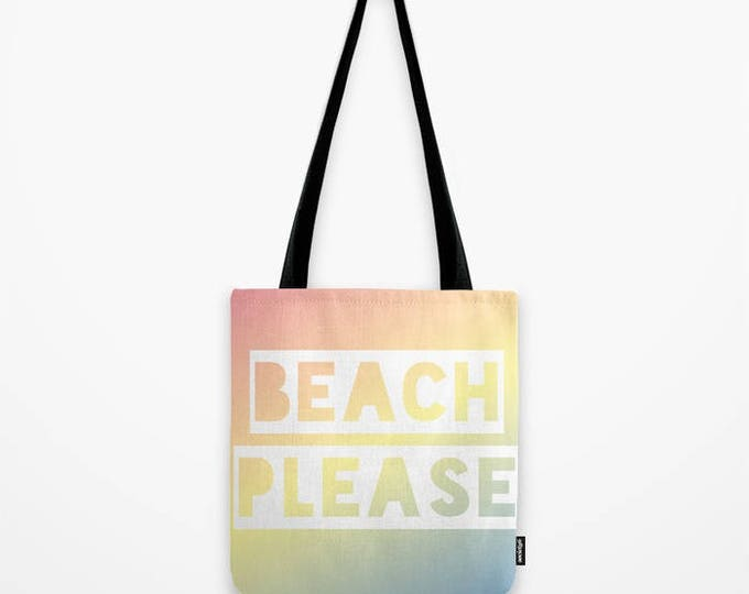 Canvas Tote Bag - Beach Please - Rainbow Ombre - Pink Yellow Blue - 3 Sizes - Beach Gym Grocery Weekend - OPTIONAL: Bundle w/ a Beach Towel