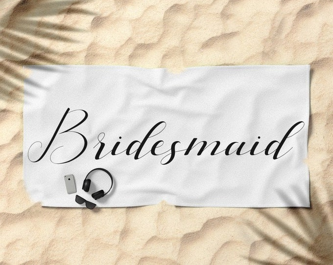 Oversized Beach Towel - Bridesmaid - Black on White - Bundle with a Tote and Pouch!