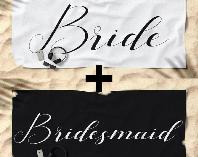 Oversized Beach Towels - Bride & Bridesmaids Set - Black and White - Bundle with a Tote and Pouch!
