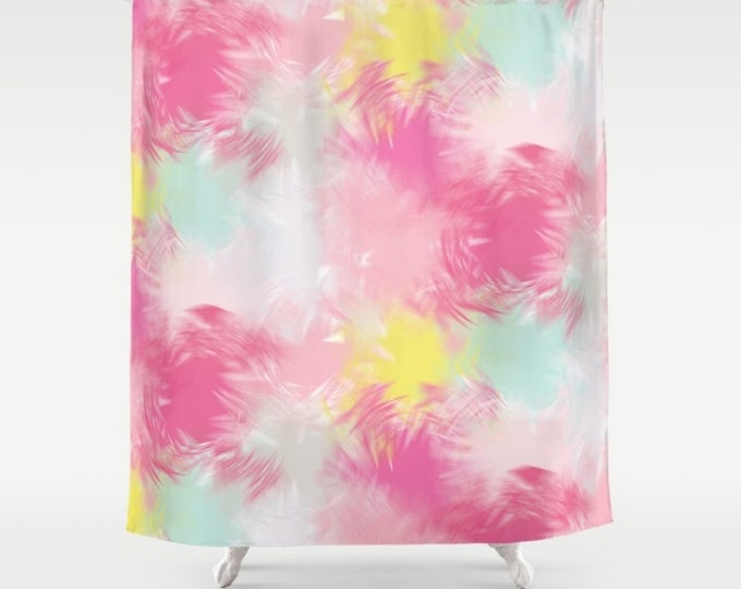 "Shower Curtain - Blurred Blend Pattern - Pink Yellow Mint Gray - 71""x74"" - Bath Curtain Bathroom Decor Accessories"
