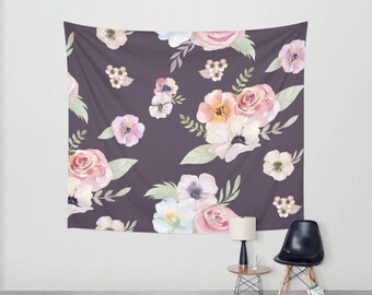 Wall Tapestry - Watercolor Floral I - Eggplant Purple Pink - Small Medium or Large - Bedroom Decor Accessories Dorm Nursery Playroom