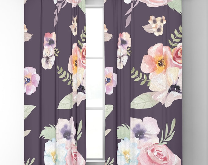 "Window Curtains - Watercolor Floral I - Eggplant Pink - 50"" x 84"" or 96"" Length - Blackout or Sheer - Rod Pocket - Bedroom Nursery Playroom"