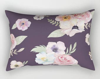 Lumbar Throw Pillow - Watercolor Floral I - Eggplant Purple Pink - Rectangle Cover and Insert - 17x12 20x14 25.5x18 28x20