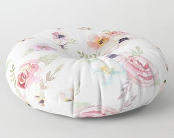 "Oversized Floor Pillow - Watercolor Floral I - Cream Ivory Pink - Round or Square - 26"" or 30"" - Throw Poof Pouf Cushion"