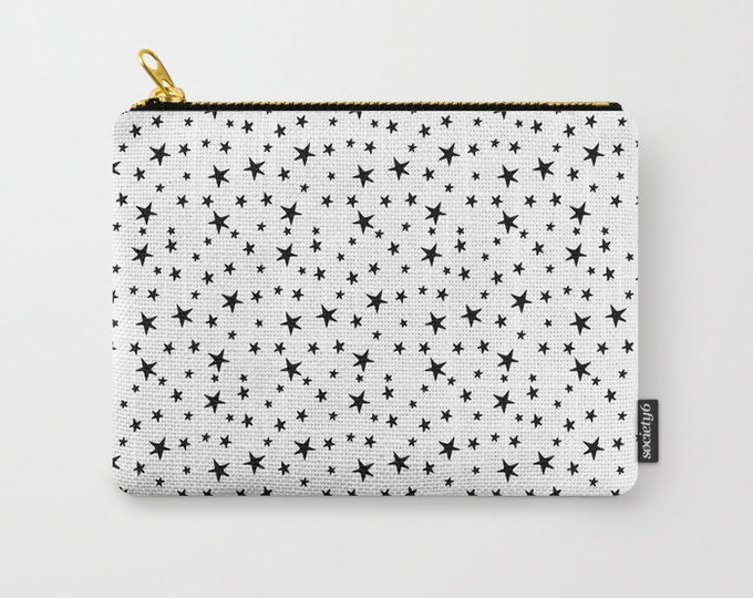 Zipper Pouch - Mini Star Print - Black on White - 3 Sizes Available