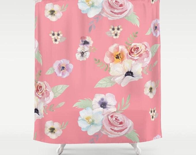 "Shower Curtain - Watercolor Floral I - Bright Pink - 71""x74"" - Bath Curtain Bathroom Decor Accessories - Optional Bundle w/ Bath Mat"