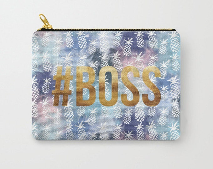 Zipper Pouch - Pineapples & #BOSS - Navy Blue Blend Pattern Gold - 3 Sizes Available