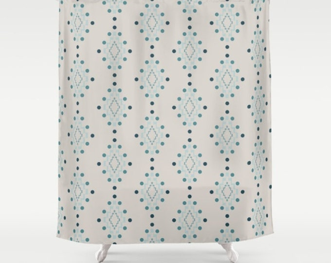 "Shower Curtain - Diamond Geometric Pattern - Beige Pink Blue Turquoise - 71""x74"" - Bath Curtain Bathroom Decor Accessories"