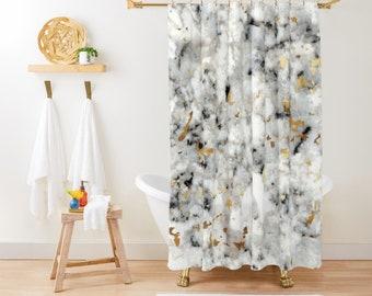 "Shower Curtain - Classic Marble with Gold Specks - Gold Black and White - 71""x74"" - Bath Curtain Bathroom Decor Accessories - Add a Bath Mat"