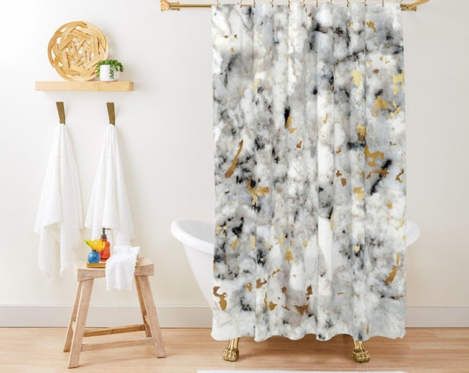 "Shower Curtain - Classic Marble with Gold Specks - Gold Black and White - 71""x74"" - Bath Curtain Bathroom Decor Accessories - Add a Bath Mat"
