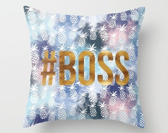 Throw Pillow - Pineapples & #BOSS - Navy Blue Blend Pattern Gold - Square Cover with Insert - 16x16 18x18 20x20 24x24