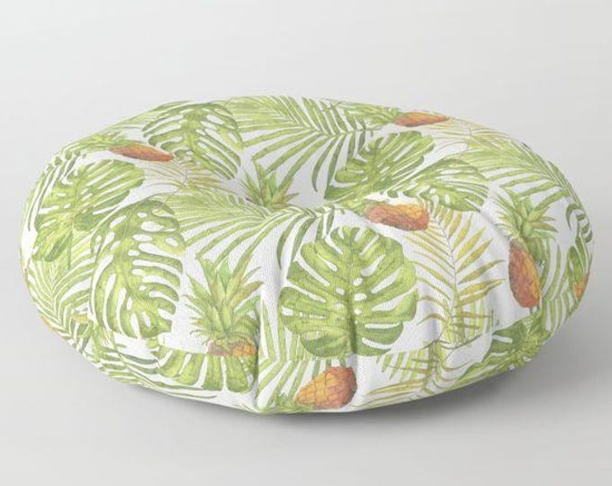 "Oversized Floor Pillow - Tropical Pineapples & Palms Print - Yellow Green - Round or Square - 26"" or 30"" - Throw Poof Pouf Cushion"