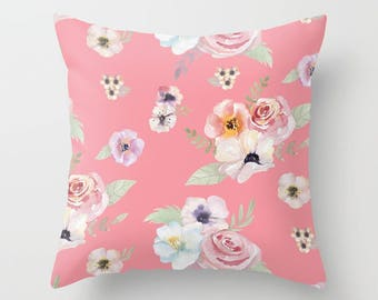 Throw Pillow - Watercolor Floral I - Bright Pink - Square Cover with Insert - 16x16 18x18 20x20 24x24