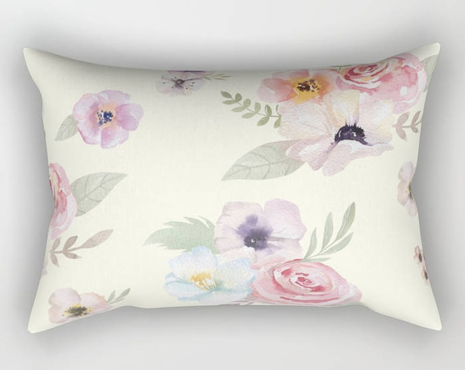 Lumbar Throw Pillow - Watercolor Floral I - Cream Ivory Pink - Rectangle Cover and Insert - 17x12 20x14 25.5x18 28x20