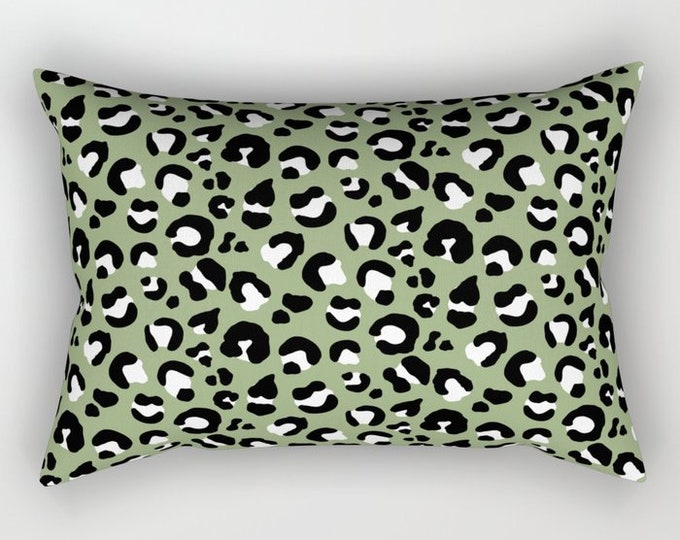 Lumbar Throw Pillow - Leopard Spots - Olive Green Black White - Rectangle Cover and Insert - 17x12 20x14 25.5x18 28x20