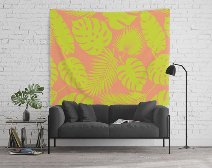 Wall Tapestry - Tropical Leaves - Lime on Coral - Small Medium or Large - Bedroom Decor Accessories Dorm Nursery Playroom