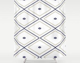 """Shower Curtain - Navajo Pattern - Tan Navy Blue White - 71""""x74"""" - Bath Curtain Bathroom Decor Accessories - Optional Bath Mat!"""