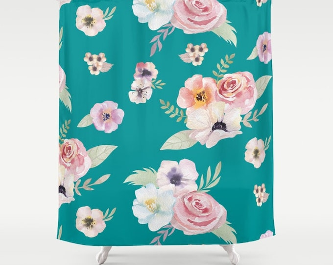"Shower Curtain - Watercolor Floral I - Teal Turquoise Pink - 71""x74"" - Bath Curtain Bathroom Decor Accessories - Optional Bundle w/ Bath Mat"