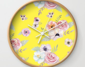 Wall Clock - Watercolor Floral I - Bright Yellow Pink - Choose Frame & Hand Colors - Bedroom Decor Accessories Dorm Nursery Playroom