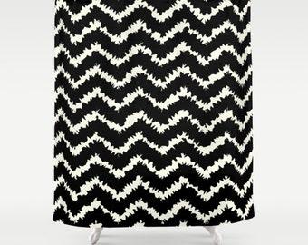 """Shower Curtain - Ragged Chevron Stripes - Gray Black Blush or Taupe - 71""""x74"""" - Bath Curtain Bathroom Decor Accessories"""
