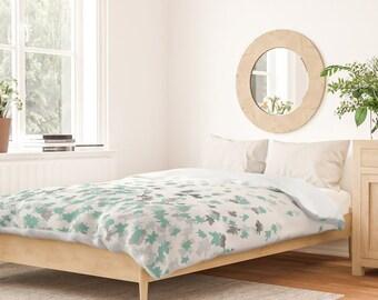 Duvet Cover or Comforter - Floating Confetti Dots - Mint Aqua Silver Cream - Twin XL Full Queen King - Microfiber or 100% Cotton - Shams Opt