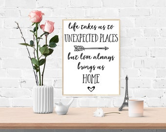 Digital Art Print - Life Takes Us Unexpected Places But Love Always Brings Us Home - Black - Instant Download, Printable Art, Wall Decor