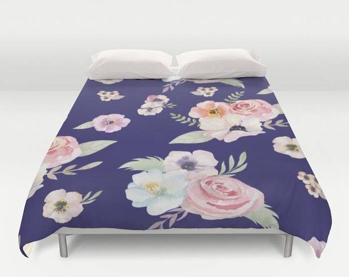 Duvet Cover or Comforter - Watercolor Floral I - Navy Blue Pink - Twin XL Full Queen or King - Bedroom Bed