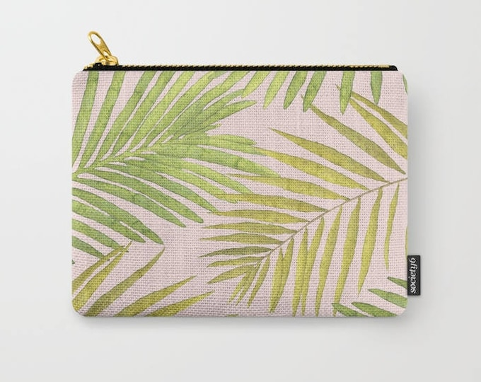 Zipper Pouch - Palms Against Blush - Pink Green Yellow - 3 Sizes Available - Carry All Clutch Bag Cosmetic Case Makeup