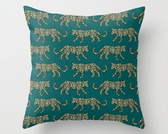 Throw Pillow - Leopard Parade - Olive Green on Deep Teal Turquoise - Square Cover with Insert - 16x16 18x18 20x20 24x24