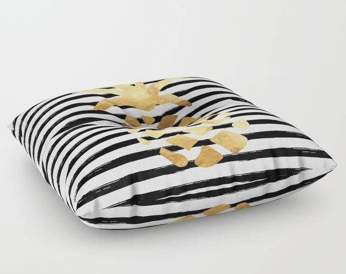 "Oversized Floor Pillow - Pineapple and Stripes - Gold Black White - Round or Square - 26"" or 30"" - Throw Poof Pouf Cushion"