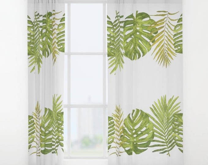 """Window Curtains - Tropical Palms - Palm Leaves - Green White - 50"""" x 84"""" - Rod Pocket - Bedroom Decor Accessories Kids Nursery Playroom"""
