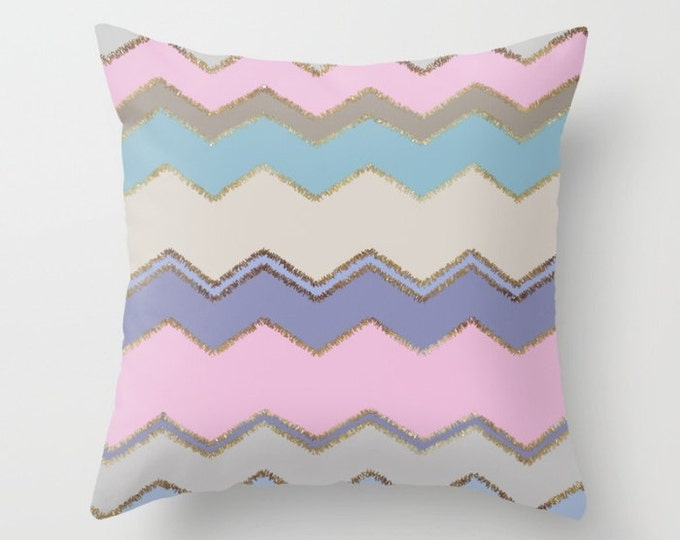 Throw Pillow - Multi Chevron and Brushed Gold - Pink Purple Beige Blue - Square Cover with Insert - 16x16 18x18 20x20 24x24