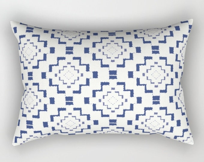 Lumbar Throw Pillow - Rough Geometric Aztec Print - Navy Blue White - Rectangle Cover and Insert - 17x12 20x14 25.5x18 28x20
