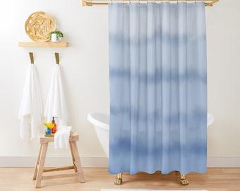 "Shower Curtain - Ombre Ocean Tides - Blue Watercolor - 71""x74"" - Bath Curtain Bathroom Decor Accessories - Optional Bath Mat!"