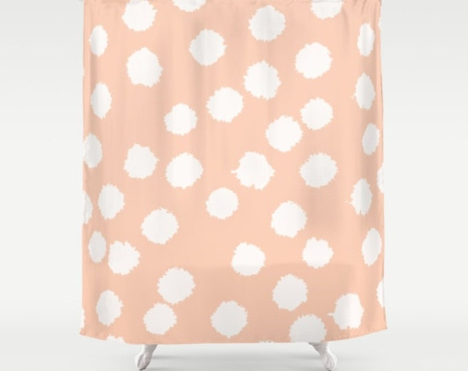 "Shower Curtain - Fuzzy Polka Dots - White on Raisin, Robin's Egg, Peach or Dark Gray - 71""x74"" - Bath Curtain Bathroom Decor Accessories"
