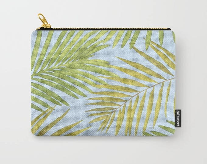 Zipper Pouch - Palms Against the Sky - Green Yellow Light Blue - 3 Sizes Available - Carry All Clutch Bag Cosmetic Case Makeup